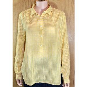 J. Crew yellow white checker shirt